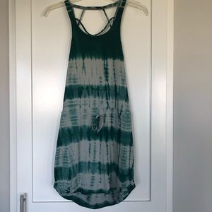 Chaser Teal Tie Dye Tank Top with Drawstring | S